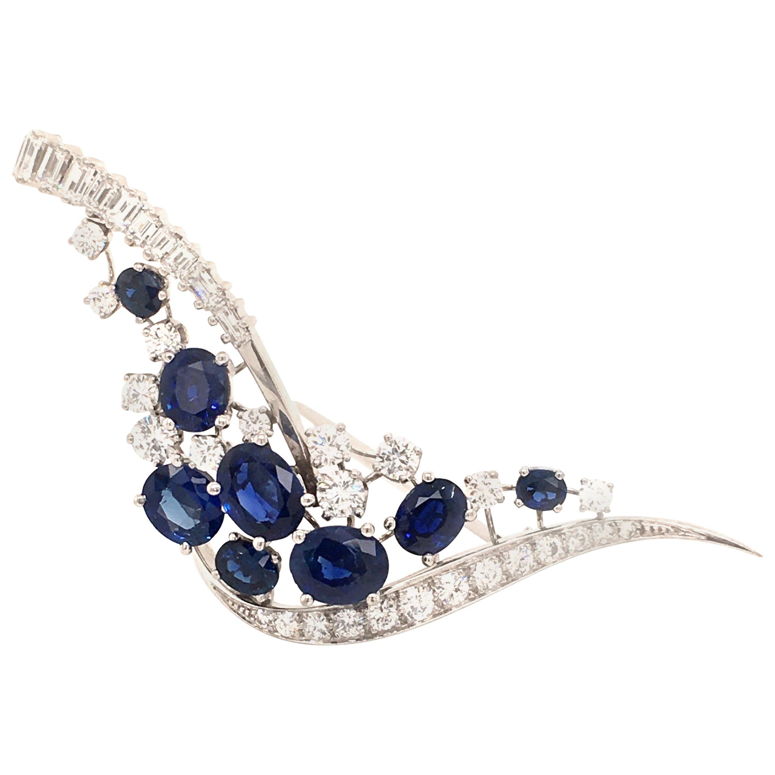 Sapphire and Diamond Brooch in 18 Karat White Gold