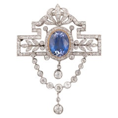 Sapphire and Diamond Brooch/Pendant