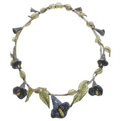 Sapphire and Diamond Calla Lilly Necklace