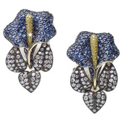 Sapphire and Diamond Calla Lily Earrings