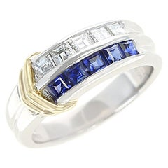 Sapphire and Diamond Channel Invisible Set Band Ring, Two Yellow Gold Linings