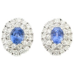 Sapphire and Diamond Clip-On Earrings