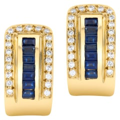 Sapphire and Diamond Clip On Earrings in 18k