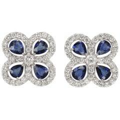 Sapphire and Diamond Clover Shaped Stud Earrings