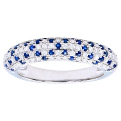 Sapphire and Diamond Cluster Band