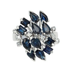 Sapphire and Diamond Cluster Cocktail Ring, 18k Gold Pear Brilliant 3.49 Carat