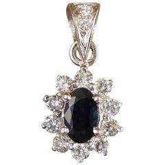 Sapphire and Diamond Cluster Drop 18 Carat White Gold Pendant