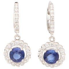 Sapphire and Diamond Cluster Drop Earrings Set in 18 Karat White Gold