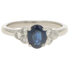 Sapphire and Diamond Cluster Engagement Ring Set in Platinum