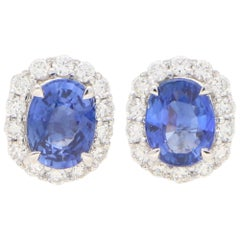 Sapphire and Diamond Cluster Halo Earrings Set in 18 Karat White Gold