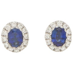 Sapphire and Diamond Cluster Halo Stud Earrings Set in 18 Karat White Gold