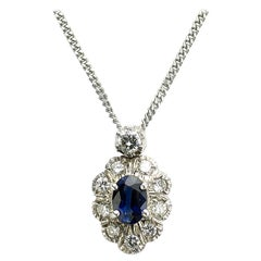 Sapphire and Diamond Cluster Pendant