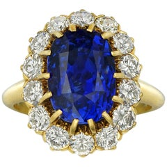 Sapphire and Diamond Cluster Ring