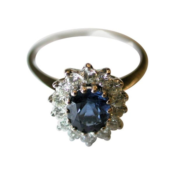 Sapphire and Diamond Cluster Ring Set in 18 Carat, Dated circa 1970