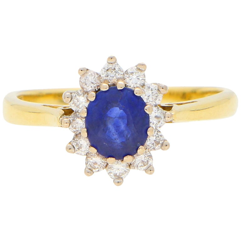 Sapphire and Diamond Cluster Ring Set in 18 Karat Yellow and White Gold For Sale