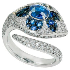 Sapphire and Diamond Cocktail Ring with White Gold