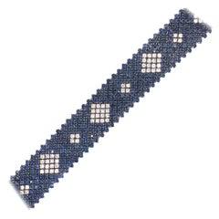 Platinum Retro Sapphire and Diamonds Drawing Diamond Shape Bracelet