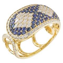 Sapphire and Diamond Cuff Bangle 17.99 Carat Diamonds 21.90 Carat Sapphires