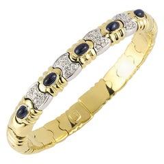 Sapphire and Diamond Cuff Bangle