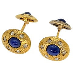 Sapphire and Diamond Cufflinks in Hammered Yellow Gold