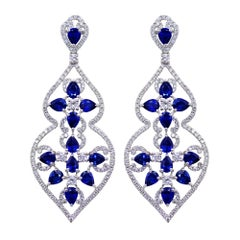 Sapphire and Diamond Dangle Earrings Set in 18K White Gold