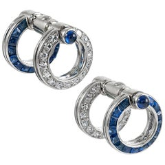 "Sapphire and Diamond ""Day-to-Night"" Cufflinks"