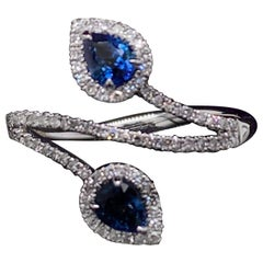 Sapphire and Diamond Double Pear Cluster Cross Over Ring 18 Karat White Gold