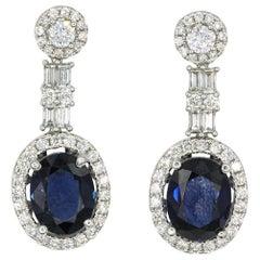Sapphire and Diamond Drop Earrings 4.93 Carat 18 Karat White Gold