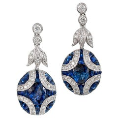 Sapphire and Diamond Drop Earrings