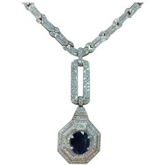 Sapphire and Diamond Drop Necklace