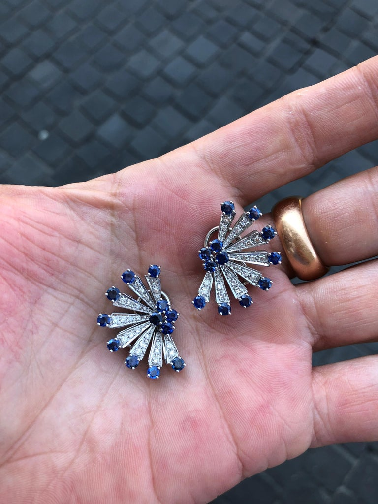 Sapphire and Diamond Earclips in 18 Karat White Gold For Sale 4