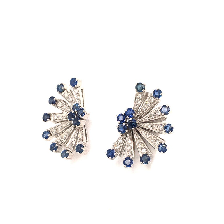 Contemporary Sapphire and Diamond Earclips in 18 Karat White Gold For Sale