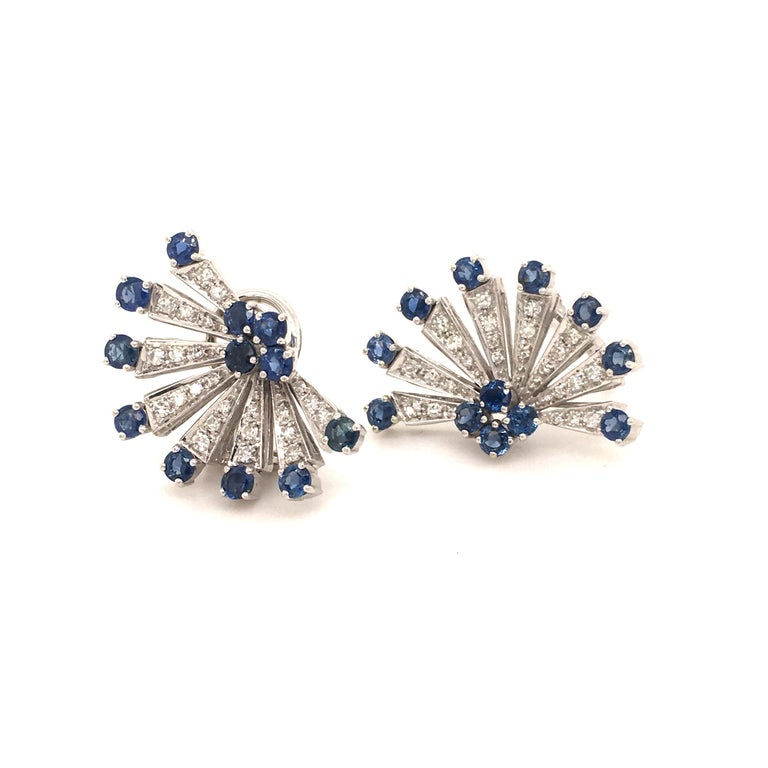Round Cut Sapphire and Diamond Earclips in 18 Karat White Gold For Sale