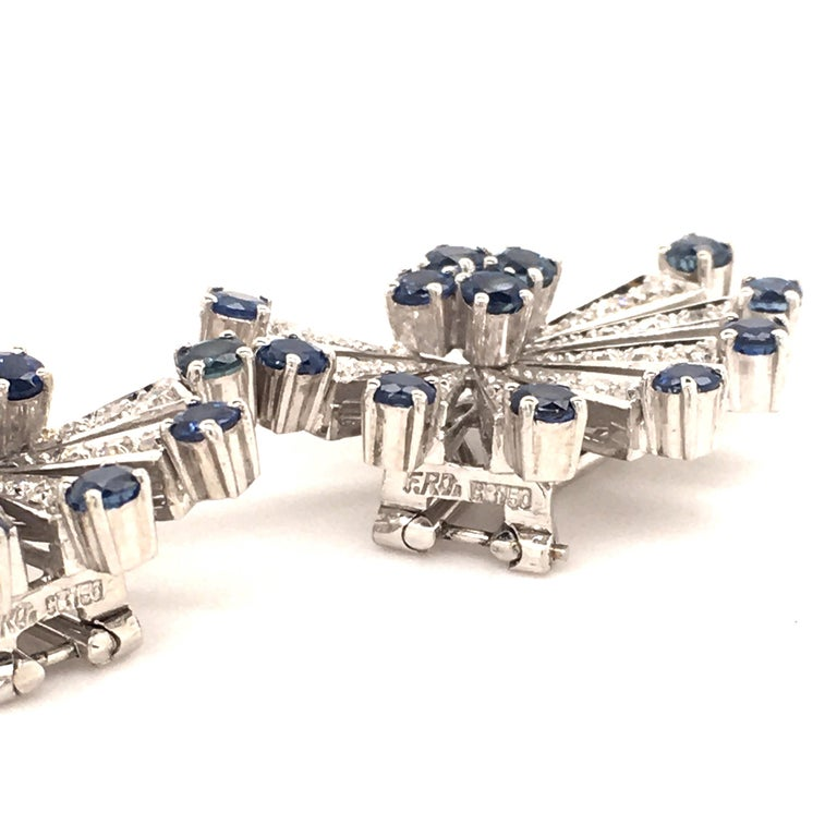 Women's or Men's Sapphire and Diamond Earclips in 18 Karat White Gold For Sale