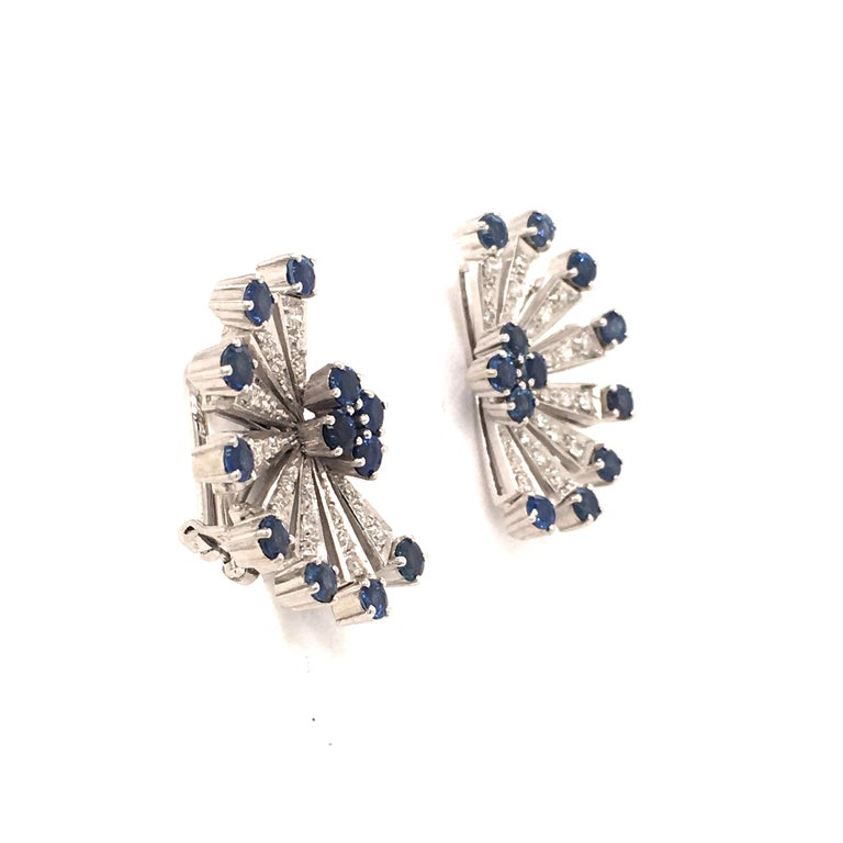 Sapphire and Diamond Earclips in 18 Karat White Gold For Sale 2