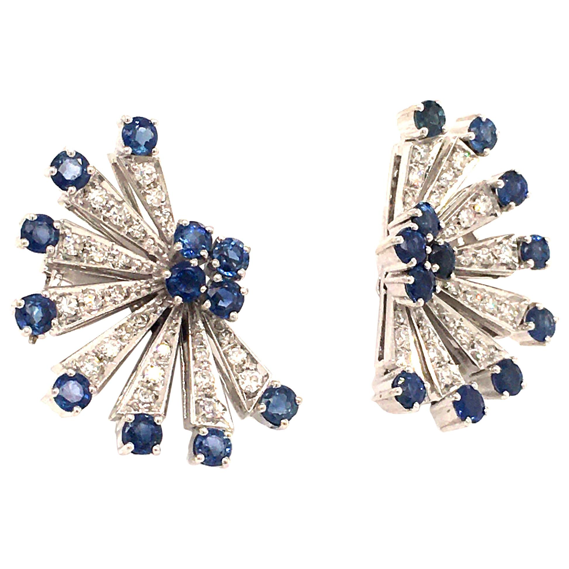 Sapphire and Diamond Earclips in 18 Karat White Gold