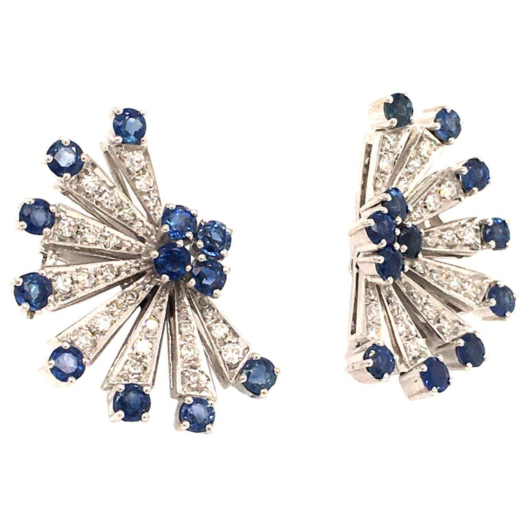 Sapphire and Diamond Earclips in 18 Karat White Gold For Sale