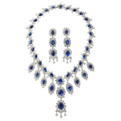 Sapphire and Diamond Earring and Necklace Set