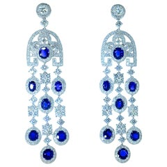 Sapphire, unheated and untreated, and Diamond Earrings
