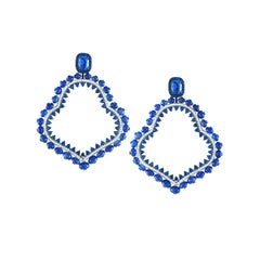 Sapphire and Diamond Earrings in 18 Karat White Gold with Blue Rhodium Plating