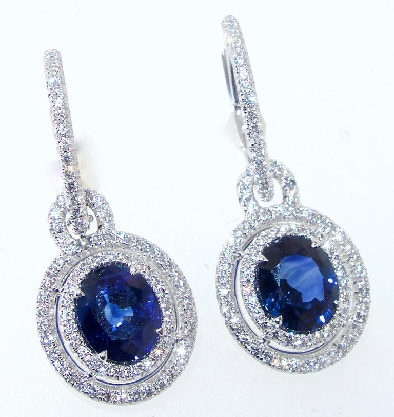 Contemporary Sapphire and Diamond Earrings, Pierre/Famille For Sale