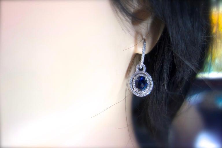 Women's or Men's Sapphire and Diamond Earrings, Pierre/Famille For Sale