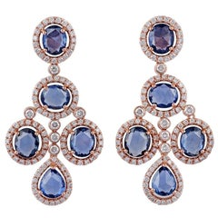 Sapphire and Diamond Earrings Studded in 18 Karat Rose Gold