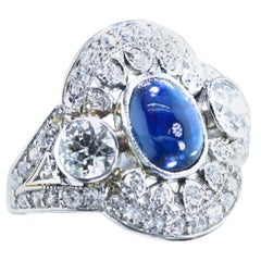 Sapphire and Diamond Edwardian Antique Ring, circa 1915