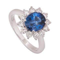 Sapphire and Diamond Engagement Cocktail Ring 2.80 Carat