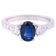 Sapphire and Diamond Engagement Fashion Ring in 14 Karat White Gold