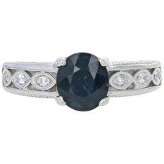 Sapphire and Diamond Engagement Ring, 14 Karat White Gold Genuine 2.80 Carat