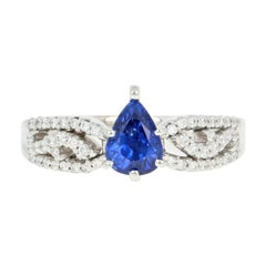 Sapphire and Diamond Engagement Ring, 18 Karat White Gold Pear 1.23 Carat