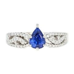 Sapphire and Diamond Engagement Ring, 18 Karat White Gold Pear 1.23 Carat