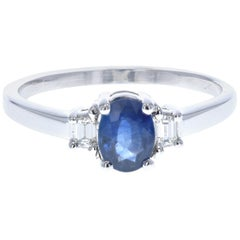 Sapphire and Diamond Engagement Ring 'Side Diamonds'